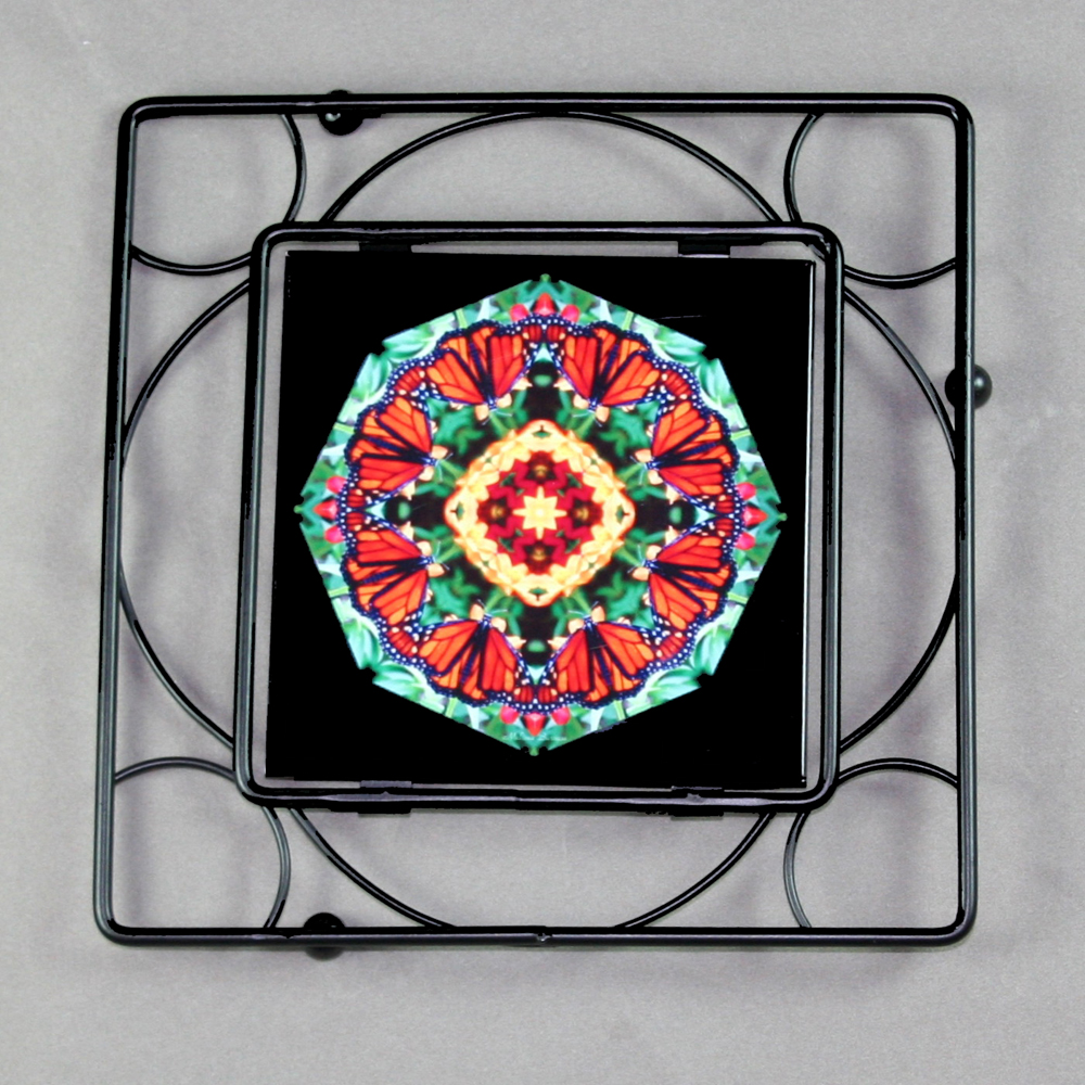 Butterfly Trivet Black Iron Mandala Sacred Geometry Kaleidoscope Summer Solace