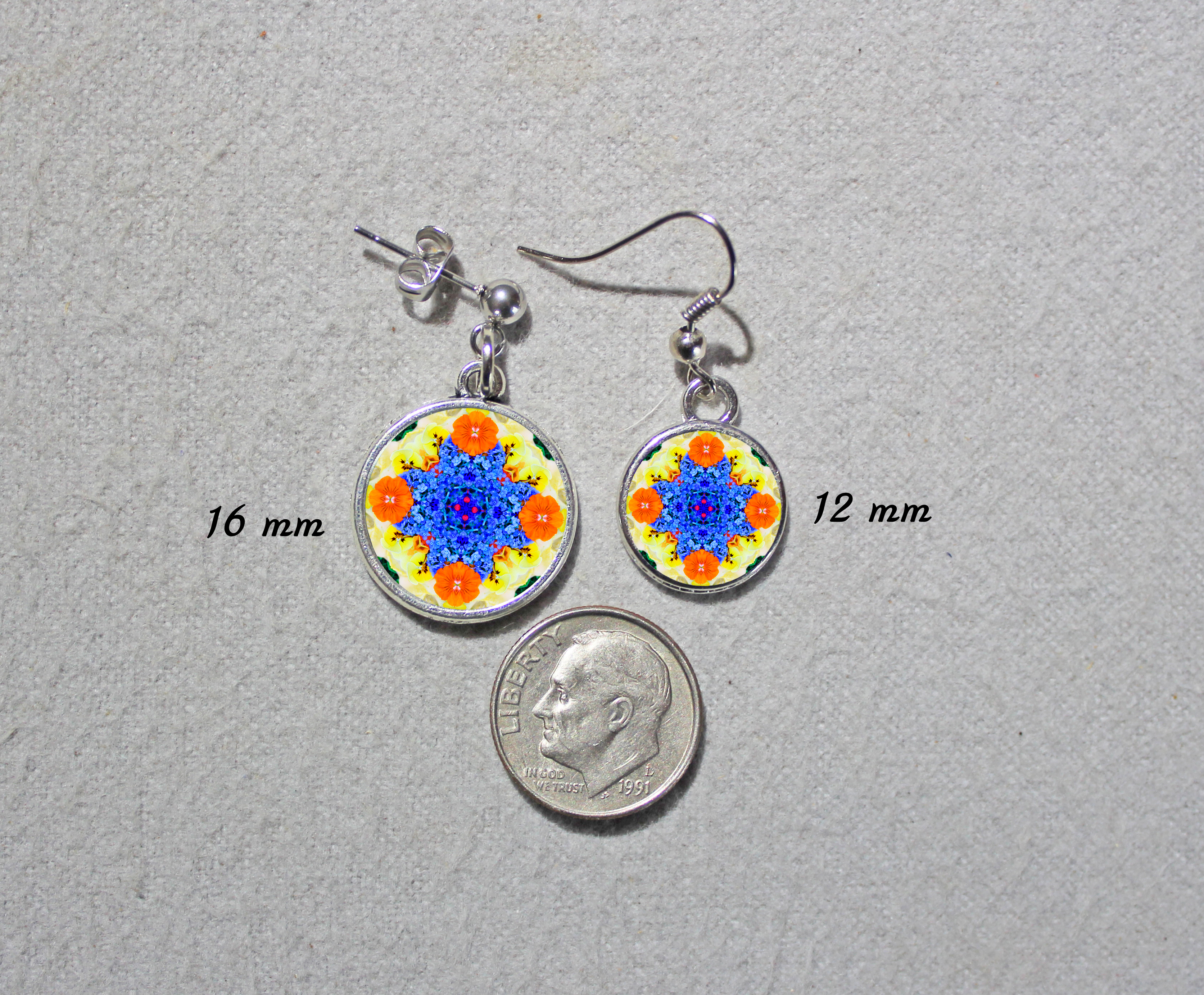Earrings Dainty Tiny Double Sided Dangle Forget Me Not Mandala Tender Tribute