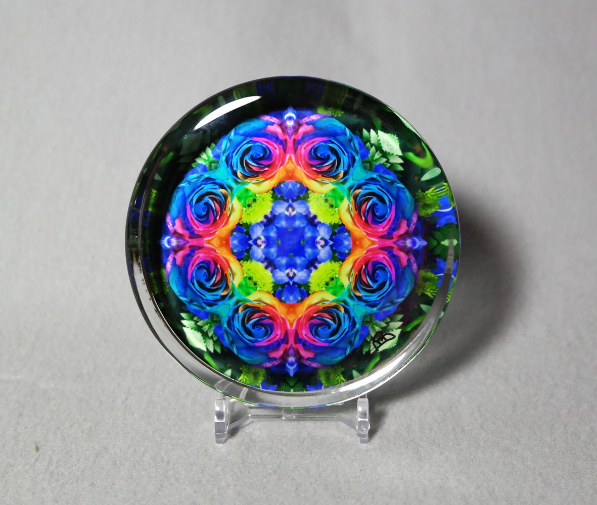 Rainbow Rose Glass Paperweight Boho Chic Mandala Chakra New Age Sacred Geometry Kaleidoscope Unique Boss Gift Teacher Gift Coworker Gift The Spectrum Of An Open Heart