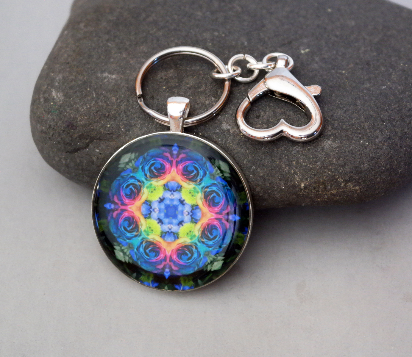 Rose Chakra Purse Charm Keychain Zen Boho Chic Mandala New Age Sacred Geometry Hippie Kaleidoscope Unique Gift For Her The Spectrum Of An Open Heart