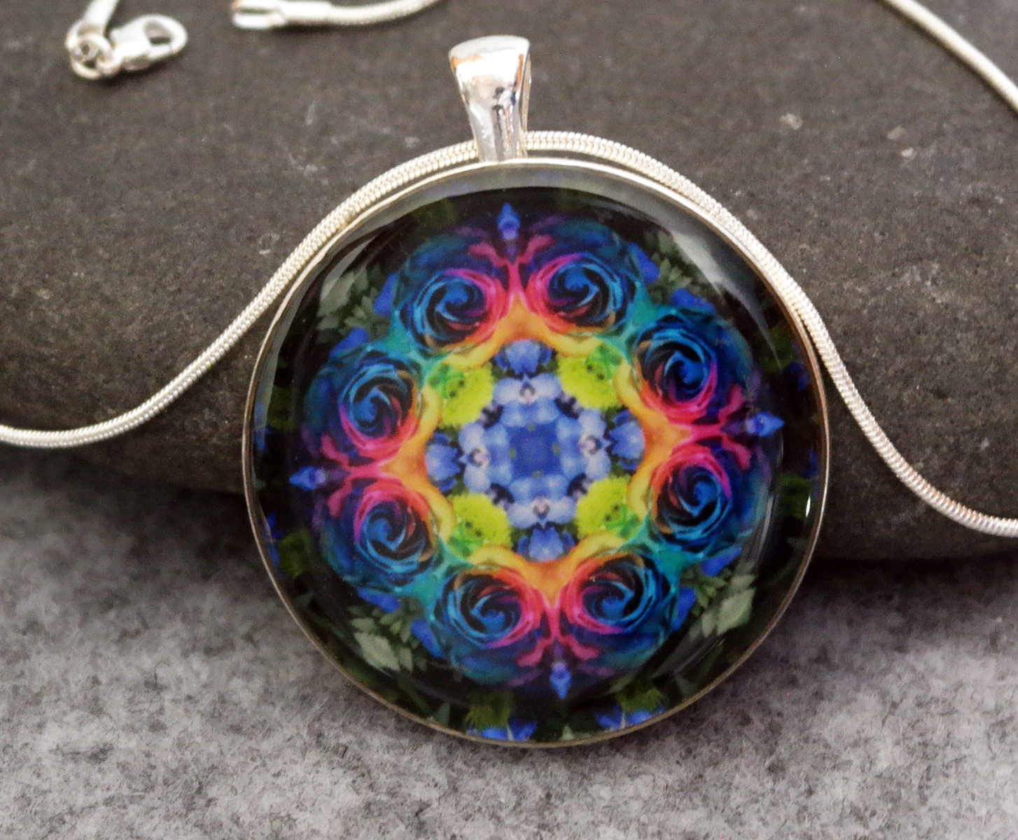 Rainbow Rose Mandala Pendant Amulet Necklace Boho Chic Chakra New Age Sacred Geometry Kaleidoscope Unique Gift For Her The Spectrum Of An Open Heart