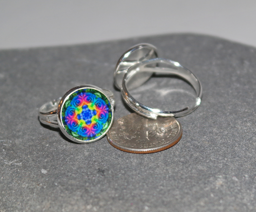 Rose Mandala Ring Adjustable Boho Chic Sacred Geometry New Age Hippie Kaleidoscope Bohemian Unique Gift For Her Spectrum Of A Open Heart