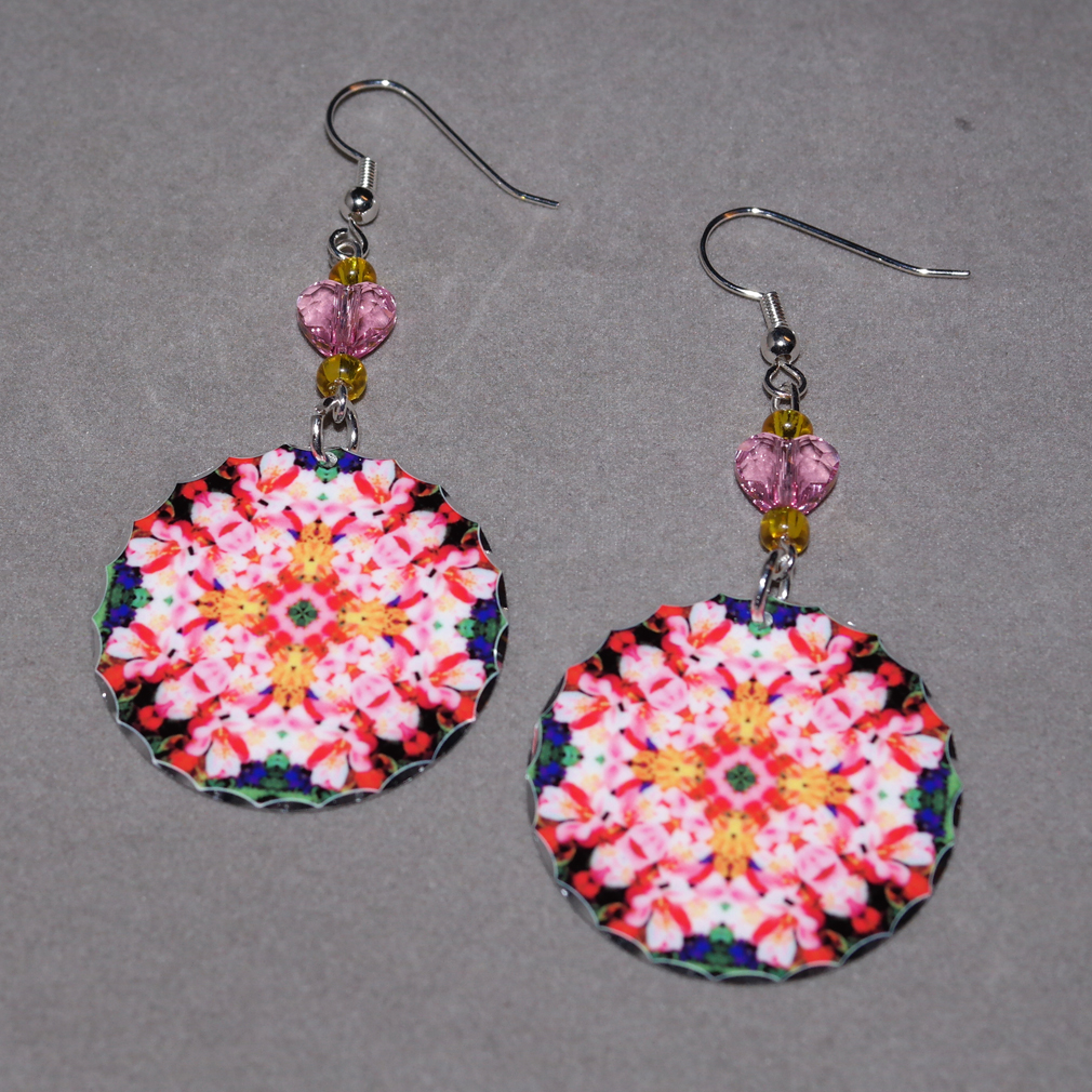 Lily Earrings Dangle Boho Chic Mandala New Age Sacred Geometry Hippie Kaleidoscope Tickled Pink