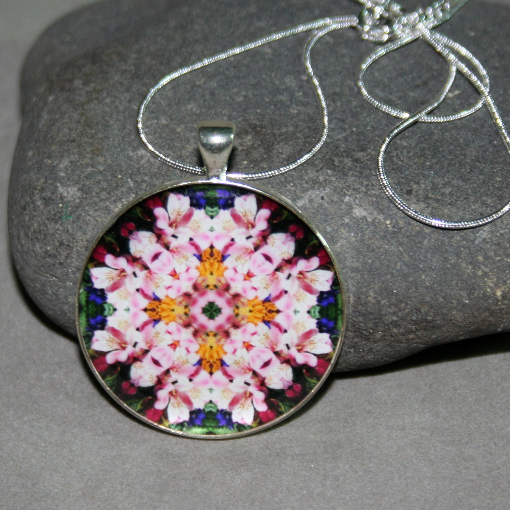 Lily Pendant Necklace Boho Chic Mandala New Age Sacred Geometry Hippie Kaleidoscope Tickled Pink