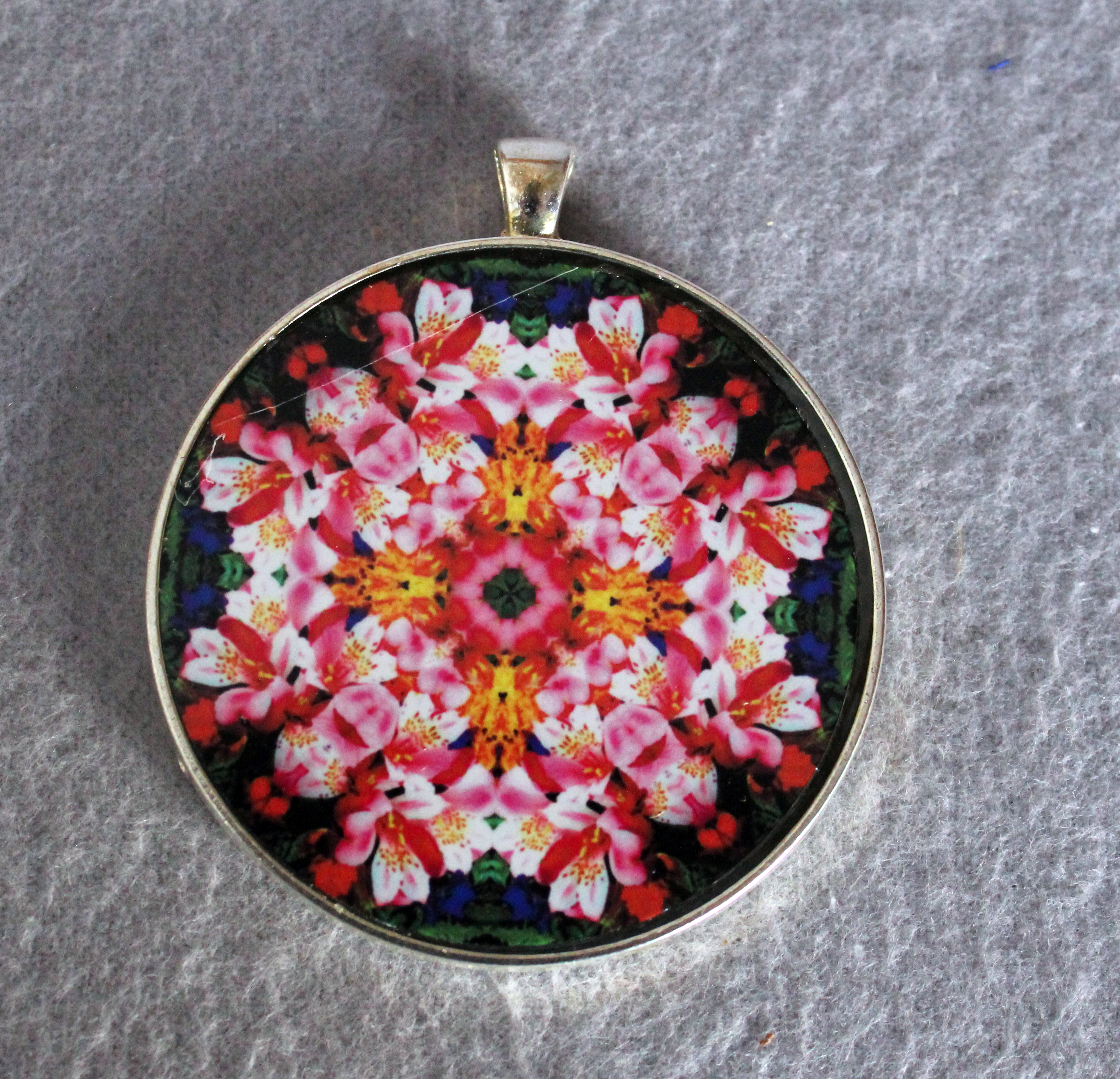 Sale Special Lily Pendant Necklace Boho Chic Mandala New Age Sacred Geometry Hippie Kaleidoscope Tickled Pink