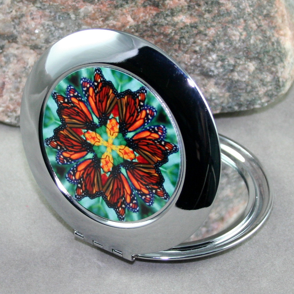 Butterfly Compact Mirror Pocket Mirror Mandala Sacred Geometry Timeless Treasure