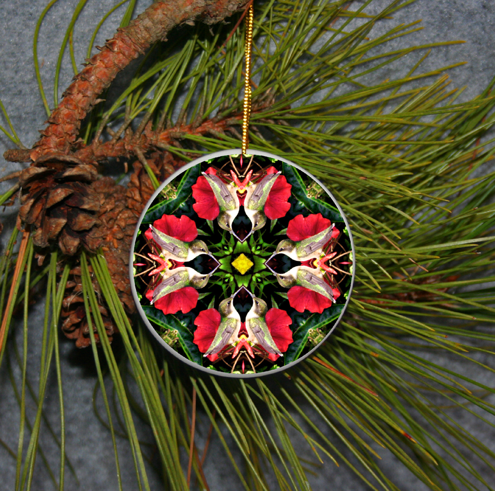 Ornament Christmas Ceramic Hummingbird Mandala All Occasion Sacred Geometry Kaleidoscope Boho Chic New Age Bohemian Modern Unique Tiny Dancer