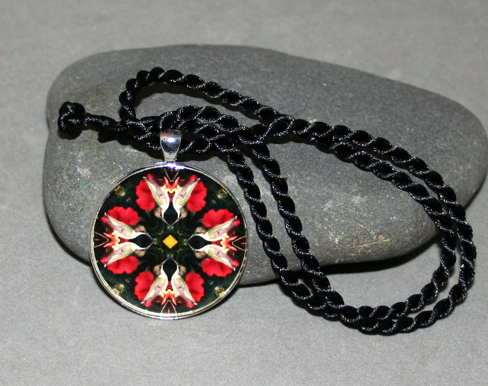 Hummingbird Pendant Sacred Geometry Mandala Kaleidoscope Medallion Necklace Tiny Dancer