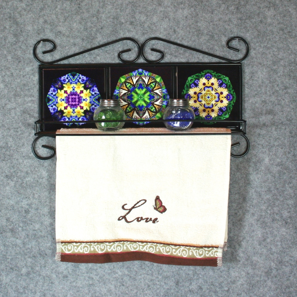 Towel Rack and Shelf with Sacred Geometry Mandala Ceramic Tiles Butterfly and Flowers