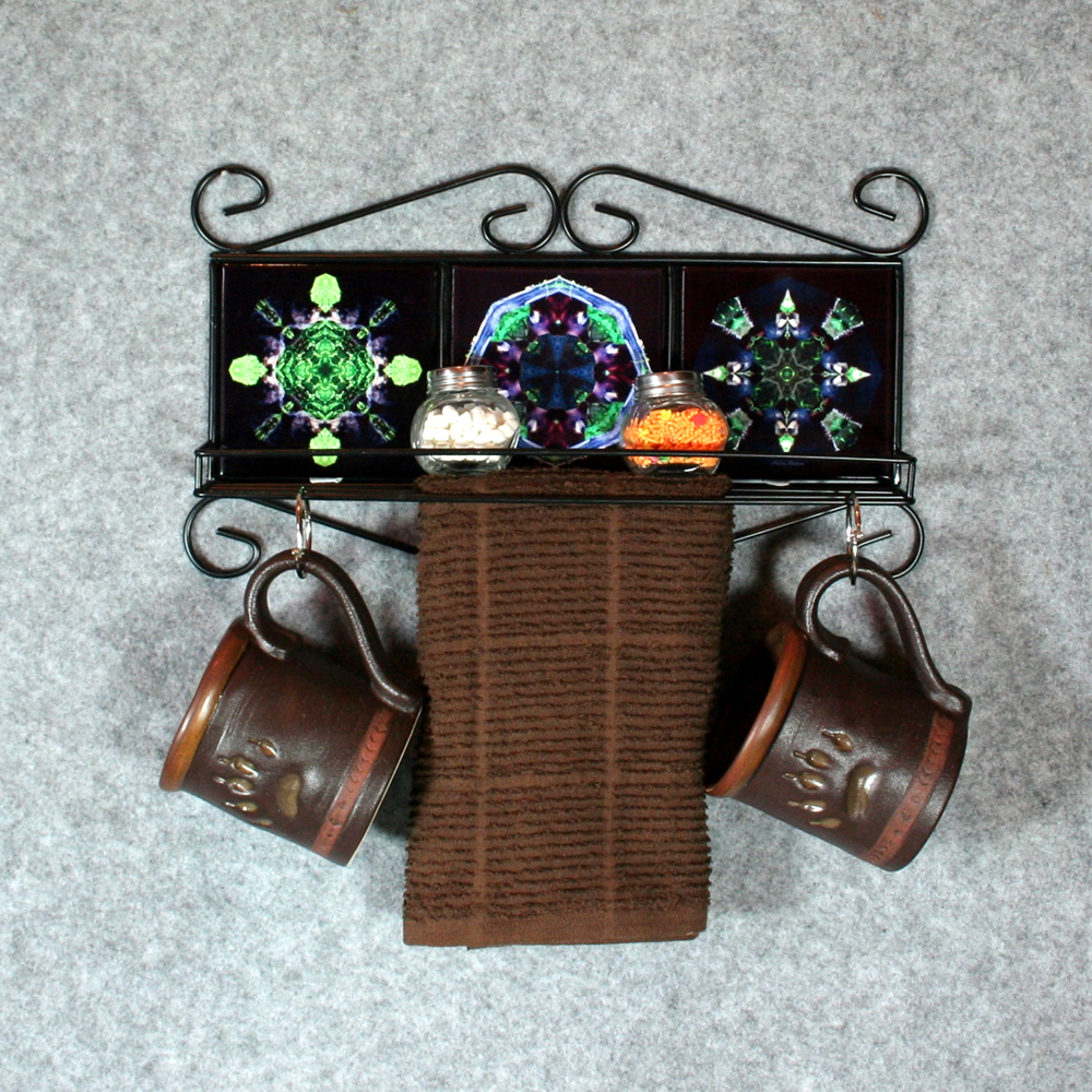 Towel Rack and Shelf with Sacred Geometry Mandala Ceramic Tiles Bears