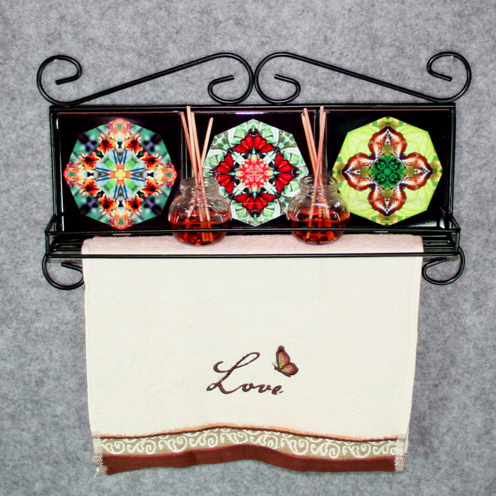 Towel Rack and Shelf with Sacred Geometry Mandala Ceramic Tiles Butterflies