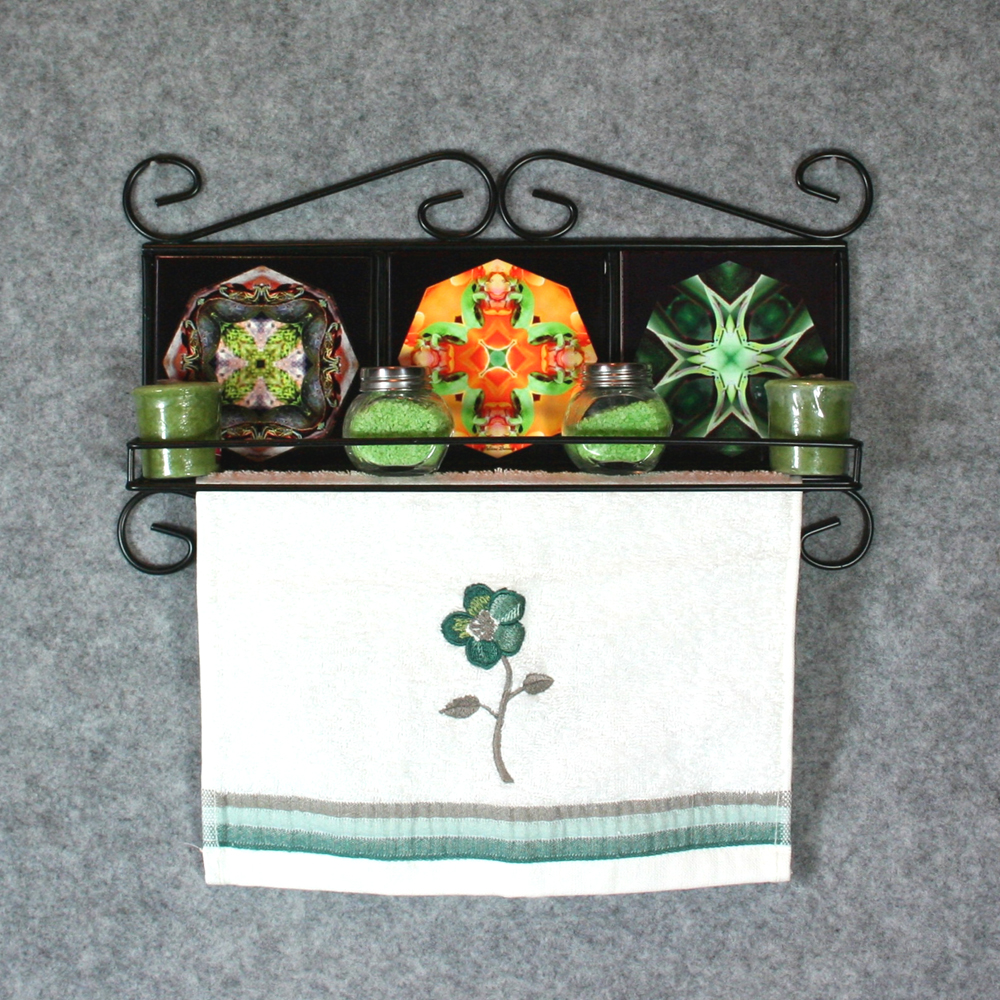 Towel Rack and Shelf with Sacred Geometry Mandala Ceramic Tiles Wildlife