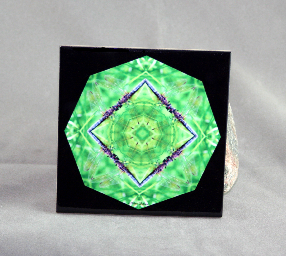 Dragonfly Decorative Ceramic Tile Coaster Trivet Geometric Kaleidoscope Tranquility