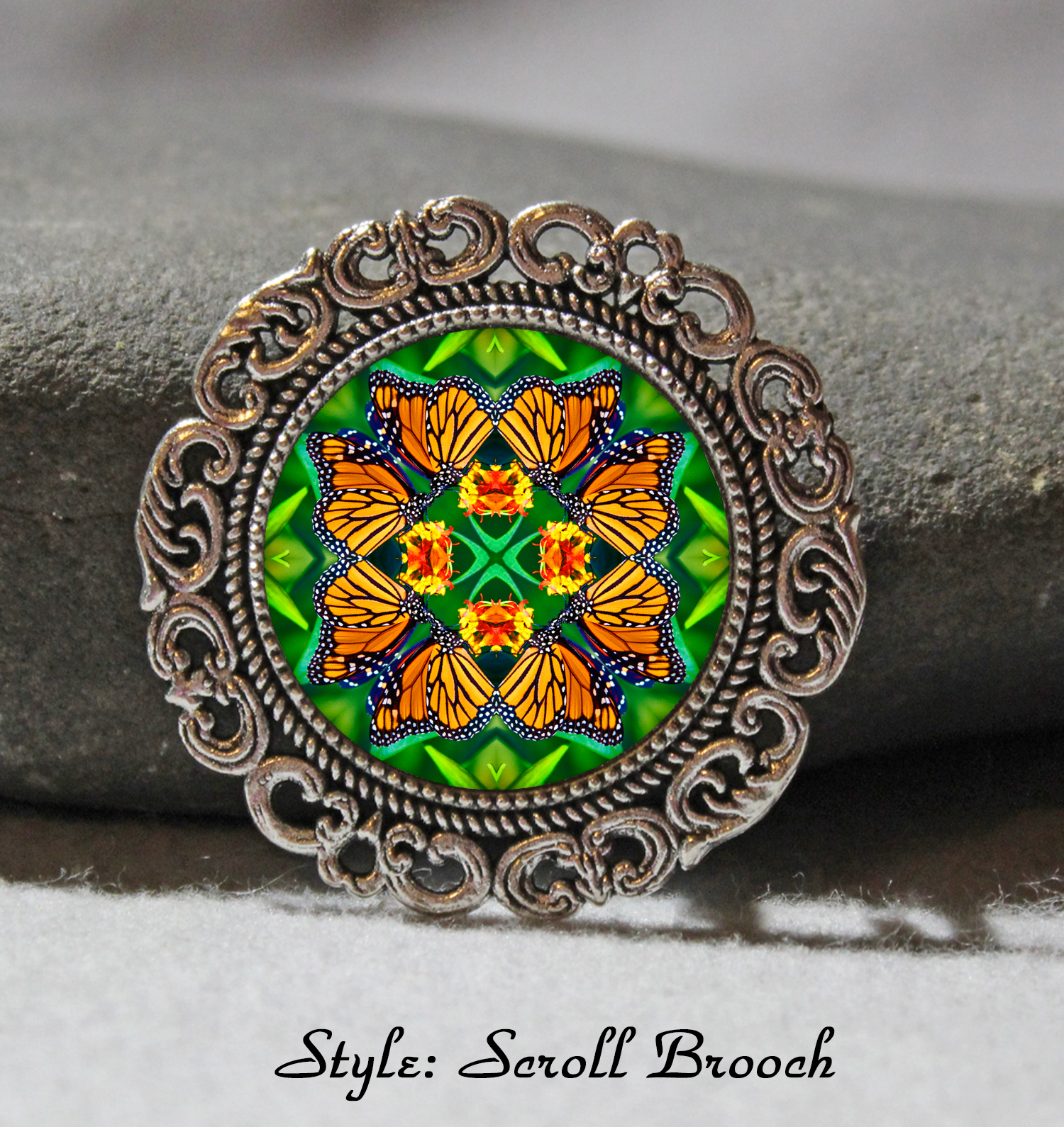 Brooch Lapel Pin Collar Pin Hat Pin Scarf Pin Monarch Butterfly Mandala Sacred Geometry Unique Gift For Her Transcendence