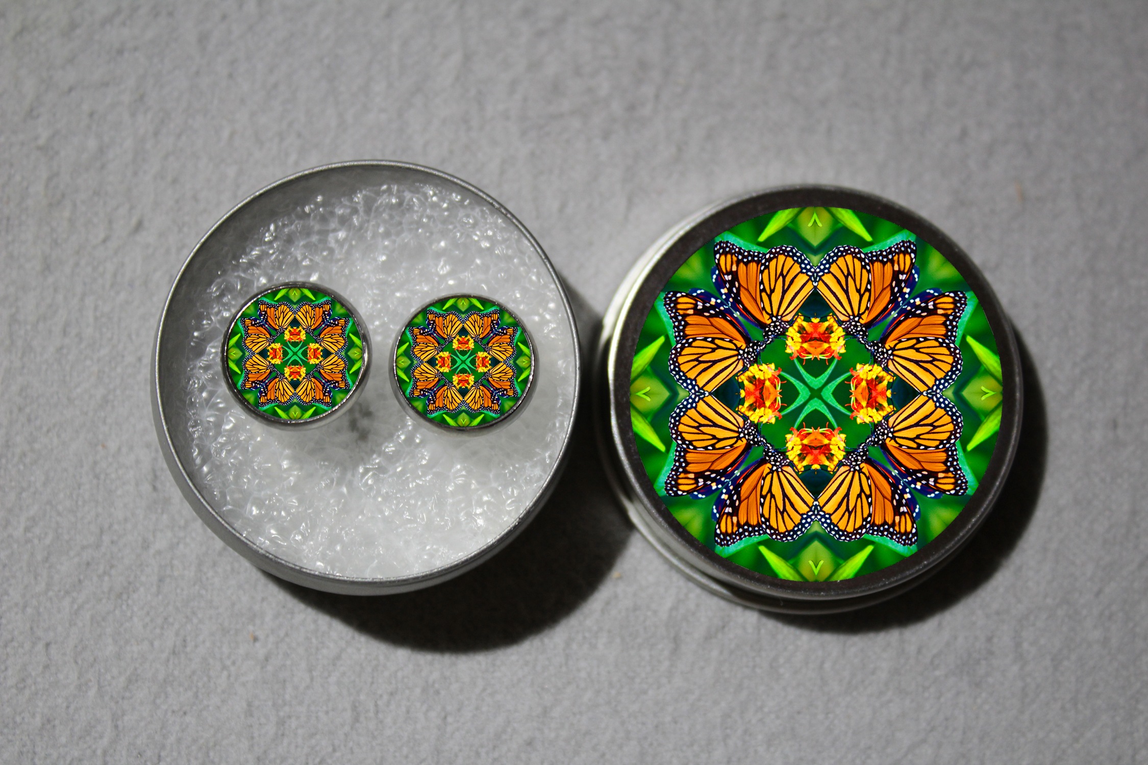 Post Earrings Monarch Butterfly Mandala Sacred Geometry Zen Bohemian Kaleidoscopic Transcendence