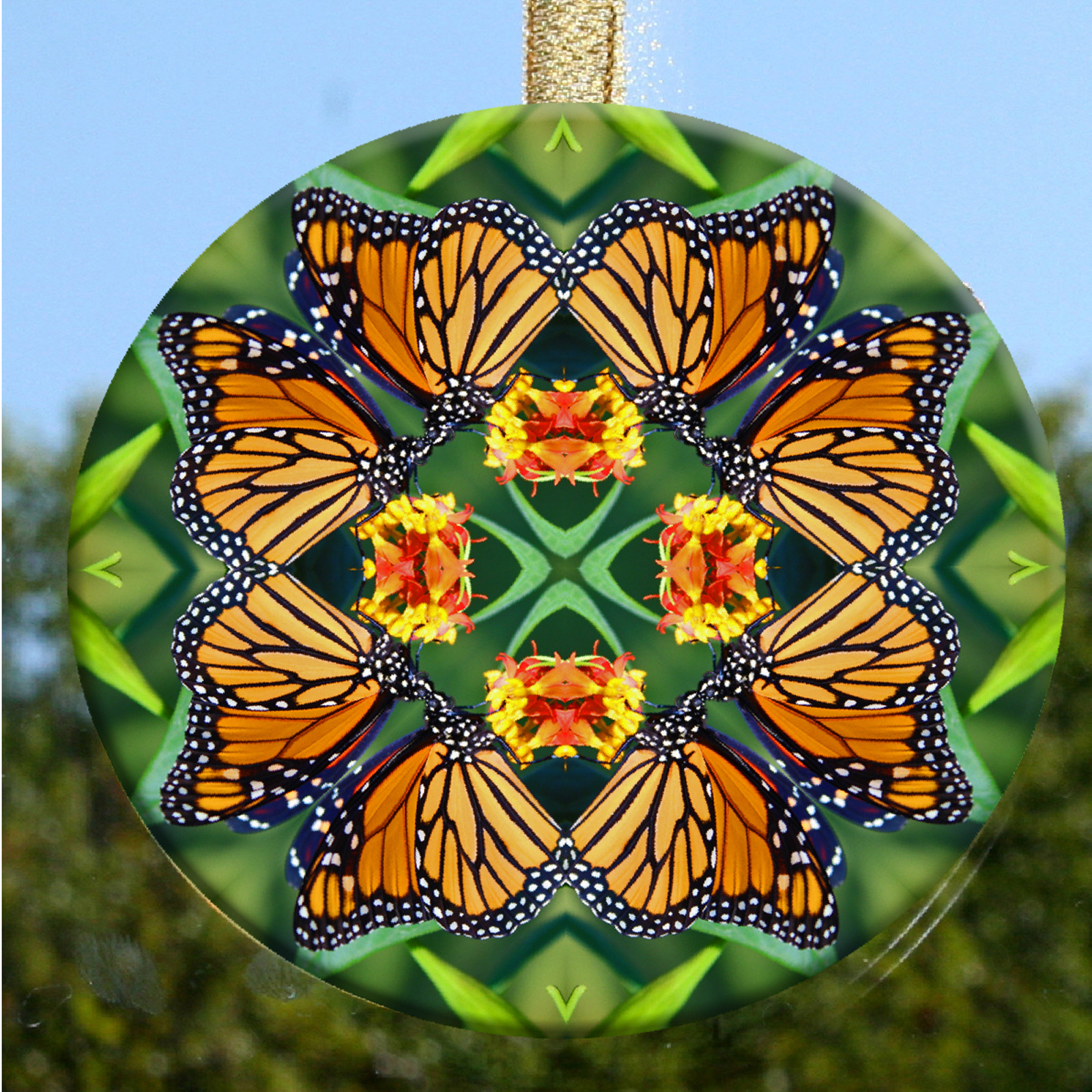 Glass Suncatcher Monarch Butterfly Mandala Zen Sacred Geometry Unique Gift For Her Transcendence