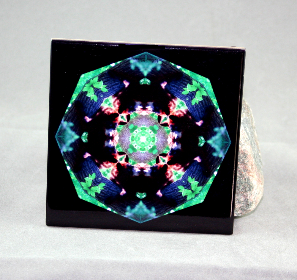 Bear Decorative Ceramic Tile Coaster Sacred Geometry Kaleidoscope Tree Hugger