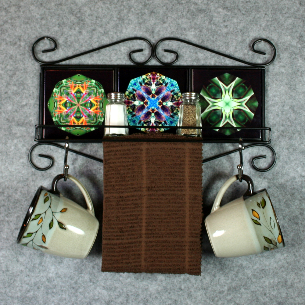 Towel Rack and Shelf with Sacred Geometry Mandala Ceramic Tiles Wildlife 3