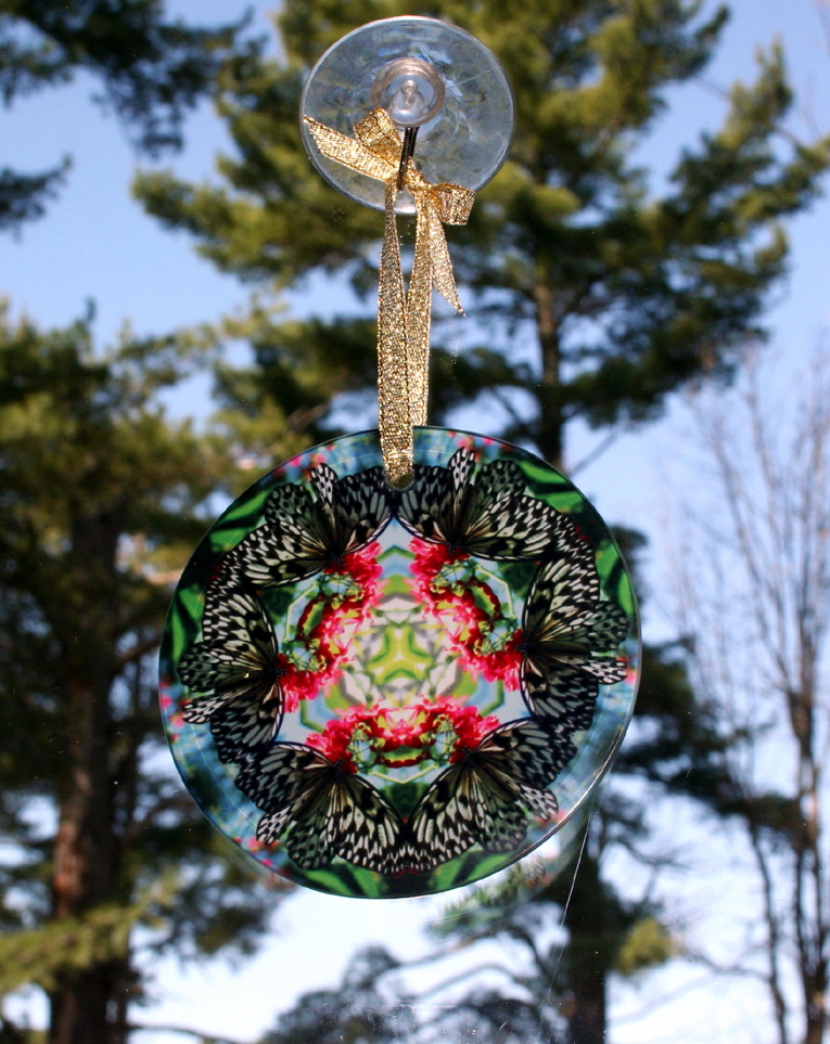 Butterfly Glass Suncatcher geometric mandala kaleidoscope Tropical Treasure