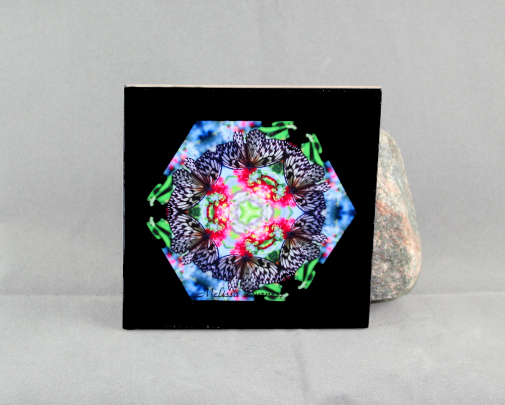 Butterfly Decorative Ceramic Tile Coaster Sacred Geometry Kaleidoscope Tropical Treasure