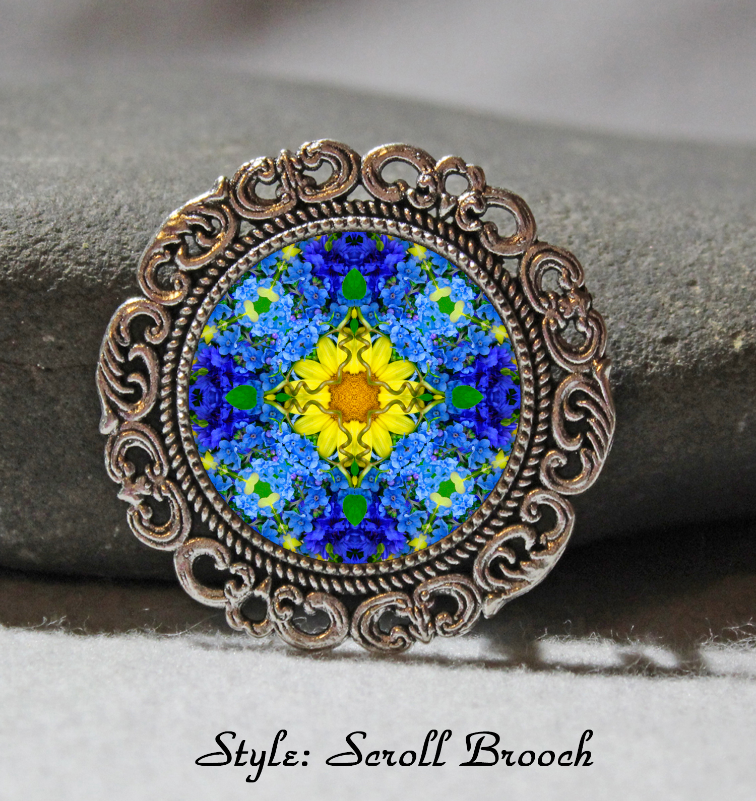 Brooch Lapel Pin Collar Pin Hat Pin Scarf Pin Forget Me Not Chakra Mandala Sacred Geometry Unique Gift For Her Unforgettable