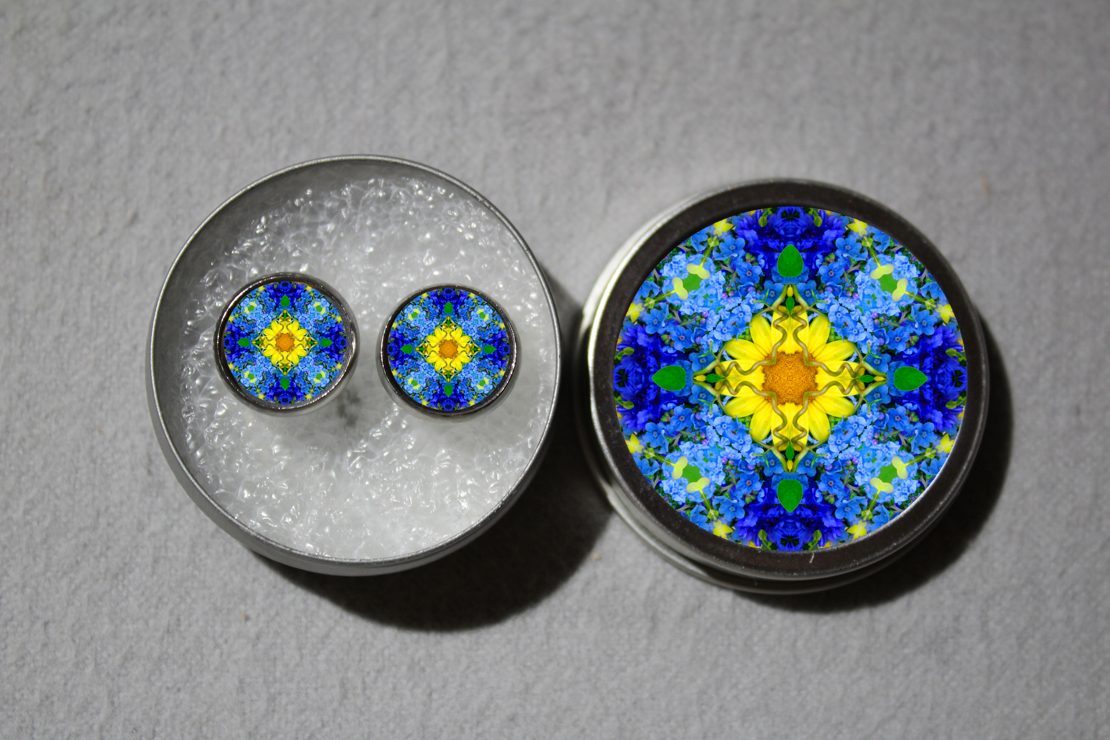Post Earrings Forget Me Not Mandala Chakra Boho Sacred Geometry Zen Kaleidoscopic Unforgettable