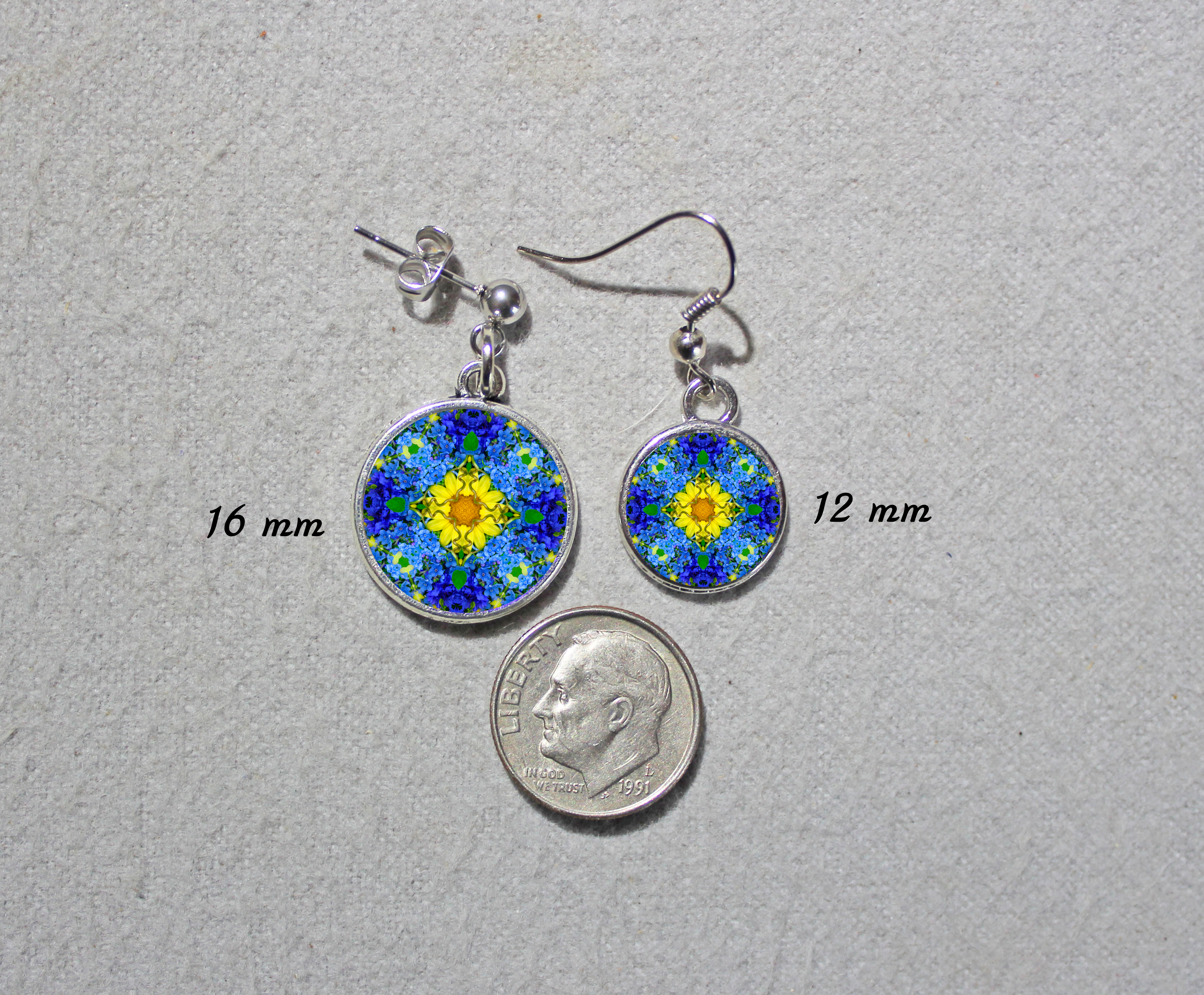 Earrings Dainty Tiny Double Sided Dangle Forget Me Not Mandala Unforgettable