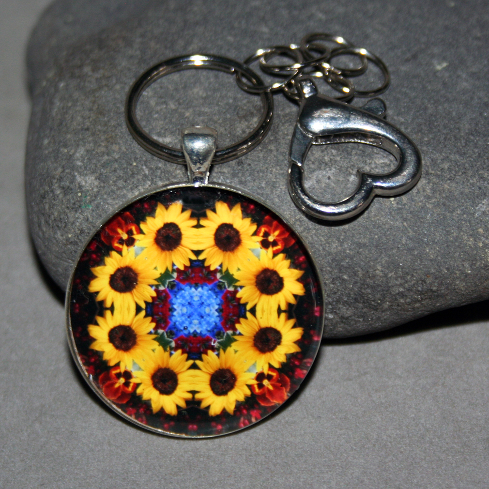 Sunflower Keychain Purse Charm Boho Chic Mandala New Age Sacred Geometry Hippie Kaleidoscope Vibrant Illumination