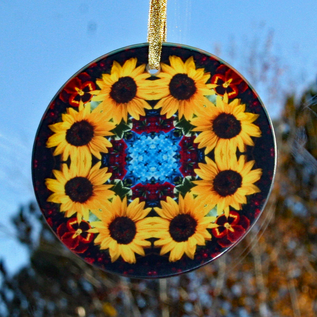 Sunflower Suncatcher Boho Chic Mandala Sacred Geometry New Age Kaleidoscope Vibrant Illumination