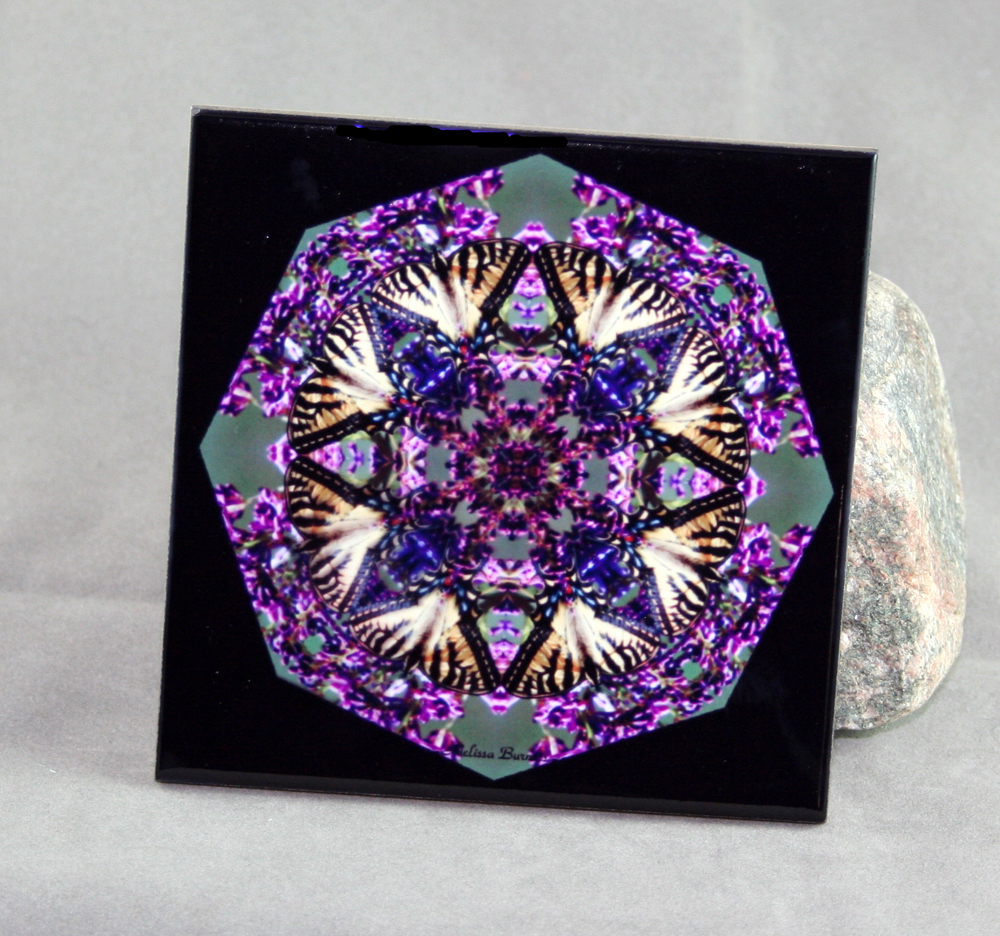 Tiger Swallowtail Butterfly Decorative Ceramic Tile Coaster Sacred Geometry Kaleidoscope Wafting Spirit