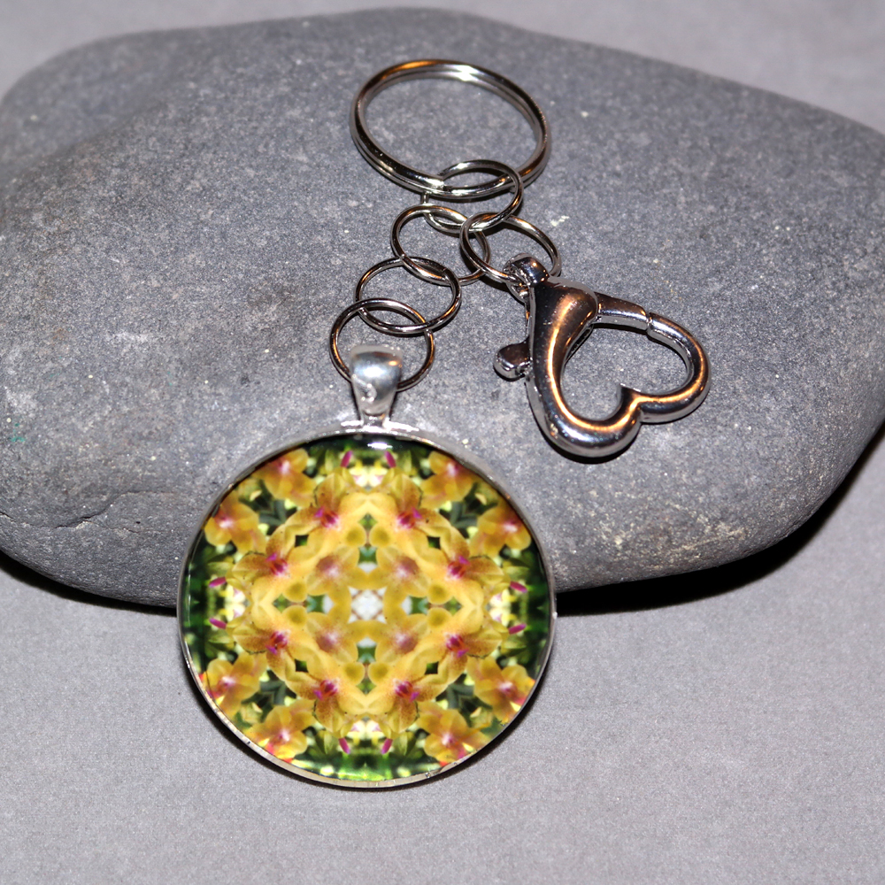 Orchid Key Chain Sacred Geometry Mandala Whimsical Grace