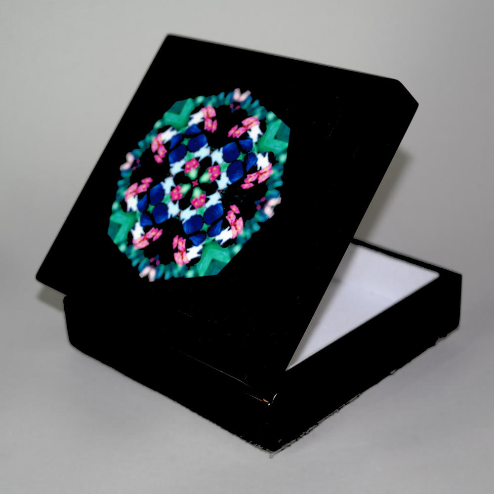 Butterfly Music Box With Ceramic Tile Top Boho Mandala New Age Sacred Geometry Whimsical Persuasion