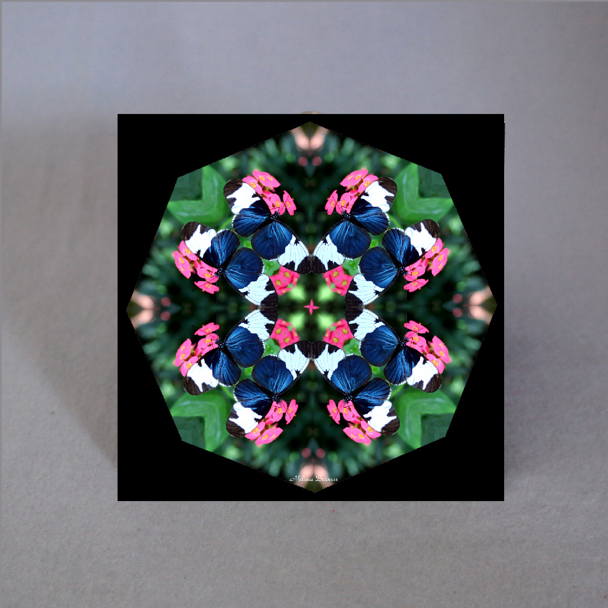 Butterfly Decorative Ceramic Tile Mandala Sacred Geometry Kaleidoscope Whimsical Persuasion