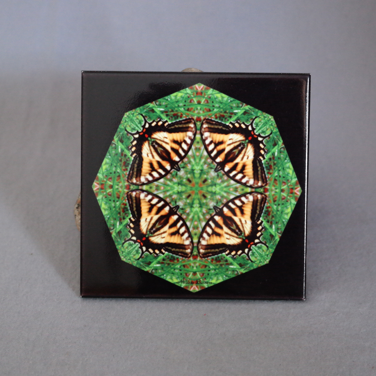 Sale Special Tiger Swallowtail Butterfly Decorative Ceramic Tile Coaster Sacred Geometry Kaleidoscope Wind Whisperer