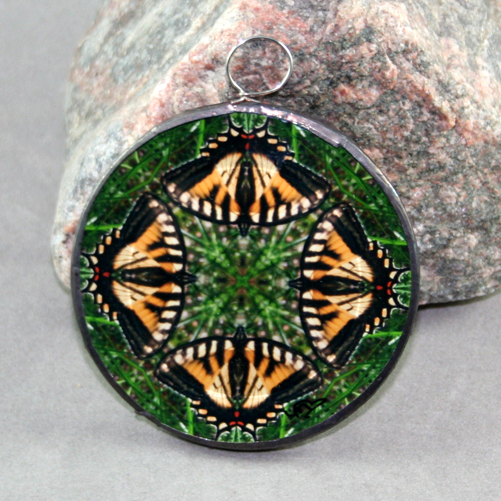 Butterfly Glass Christmas Ornament Sacred Geometry Mandala Kaleidoscope Wind Whisperer