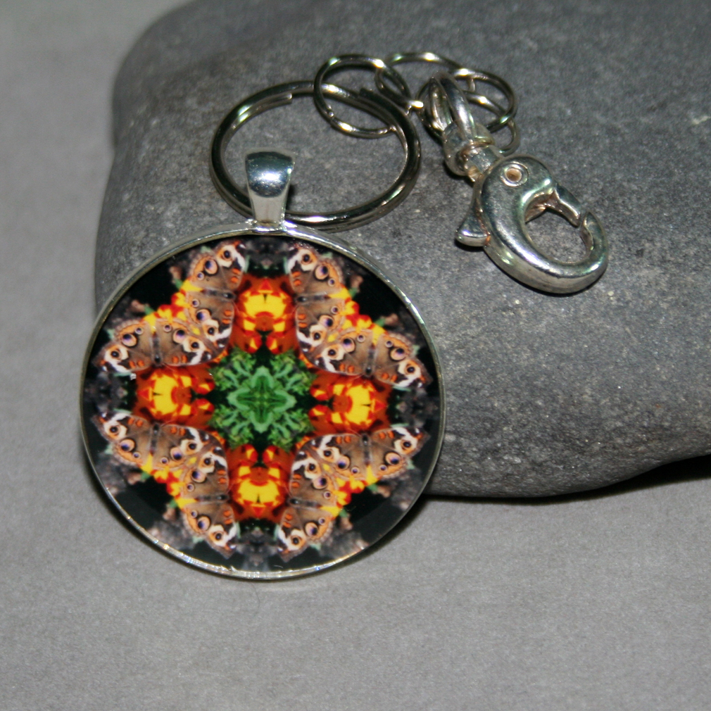 Butterfly Keychain Purse Charm Boho Chic Mandala New Age Sacred Geometry Hippie Kaleidoscope Winged Wonder