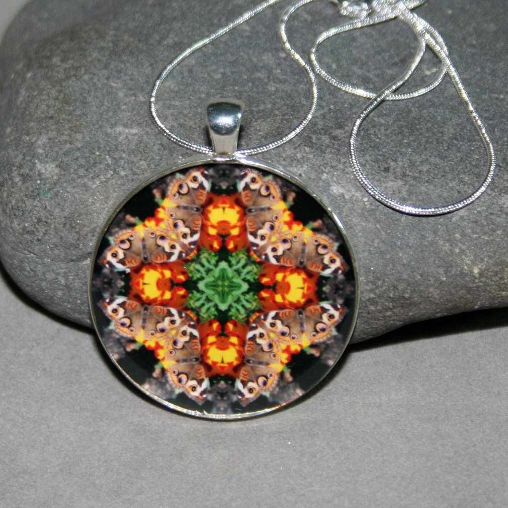 Butterfly Pendant Necklace Boho Chic Mandala New Age Sacred Geometry Kaleidoscope Winged Wonder