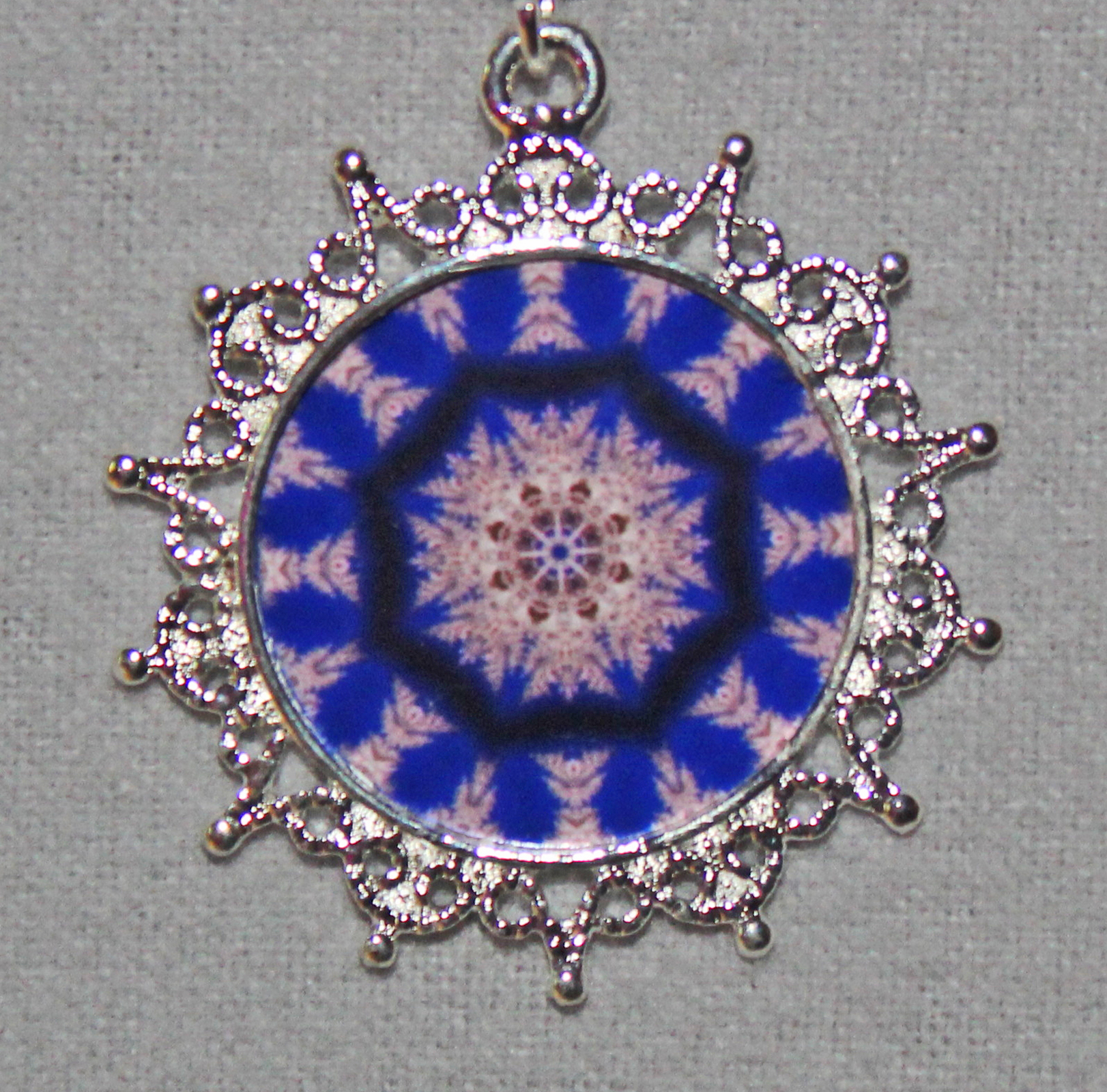 Snowflake Pendant Necklace OOAK Mandala Zen Unique Gift For Her Kaleidoscopic Winter Solstice 001 Exclusive
