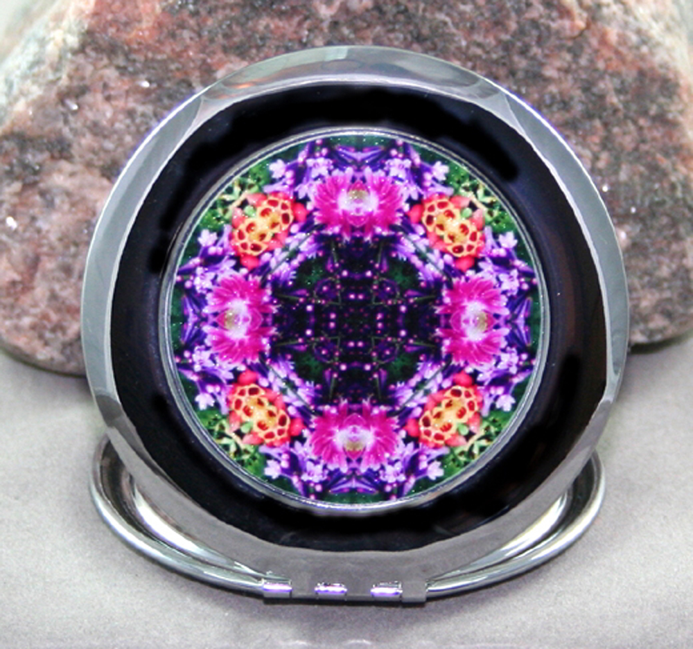 Lilac & Columbine Compact Mirror Sacred Geometry Mandala Kaleidoscope Wonderfully Wild
