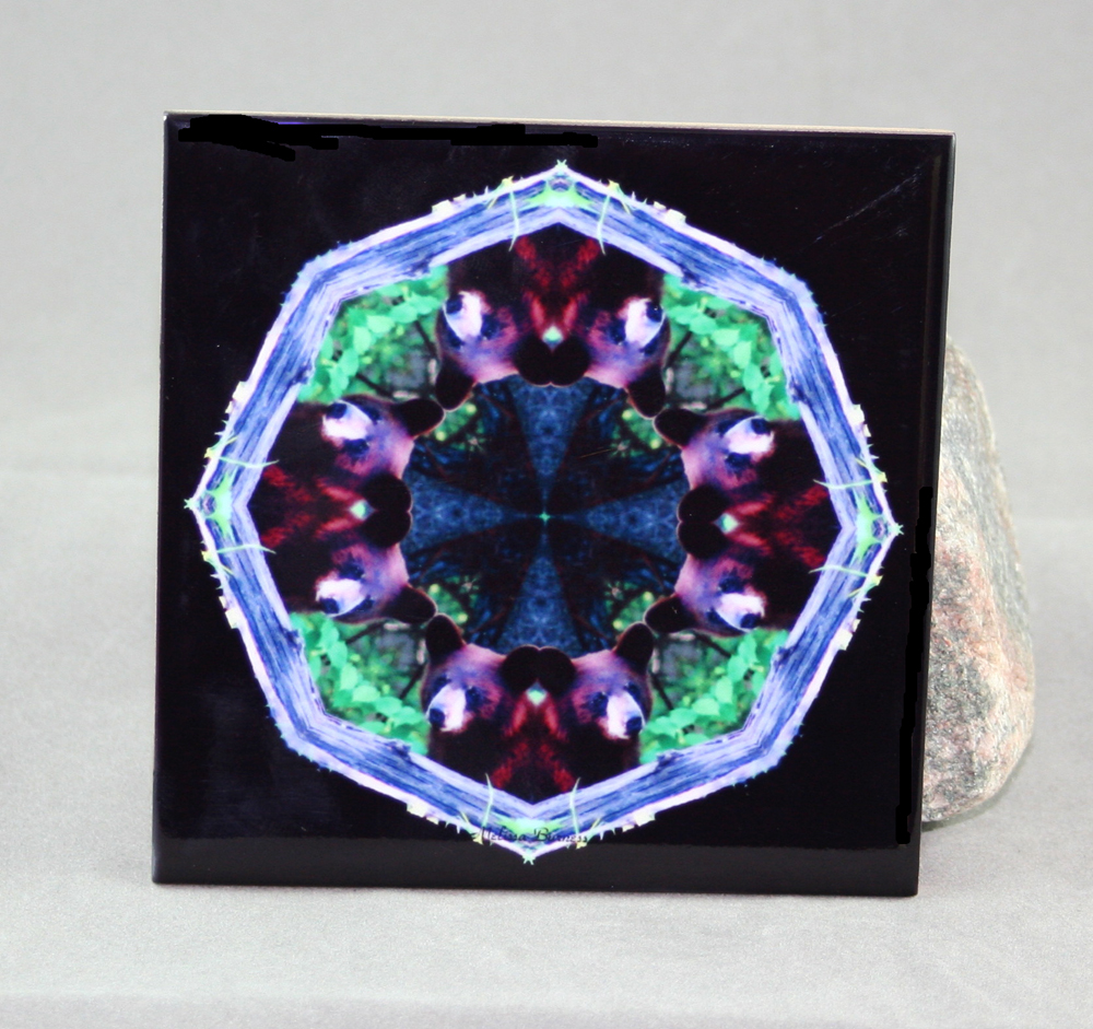 Bear Decorative Ceramic Tile Coaster Sacred Geometry Kaleidoscope Woodland Wanderer