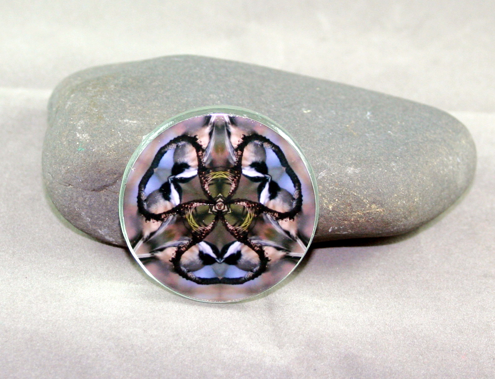 Chickadee Glass Magnet Sacred Geometry Mandala Kaleidoscope Chipper Chickadee