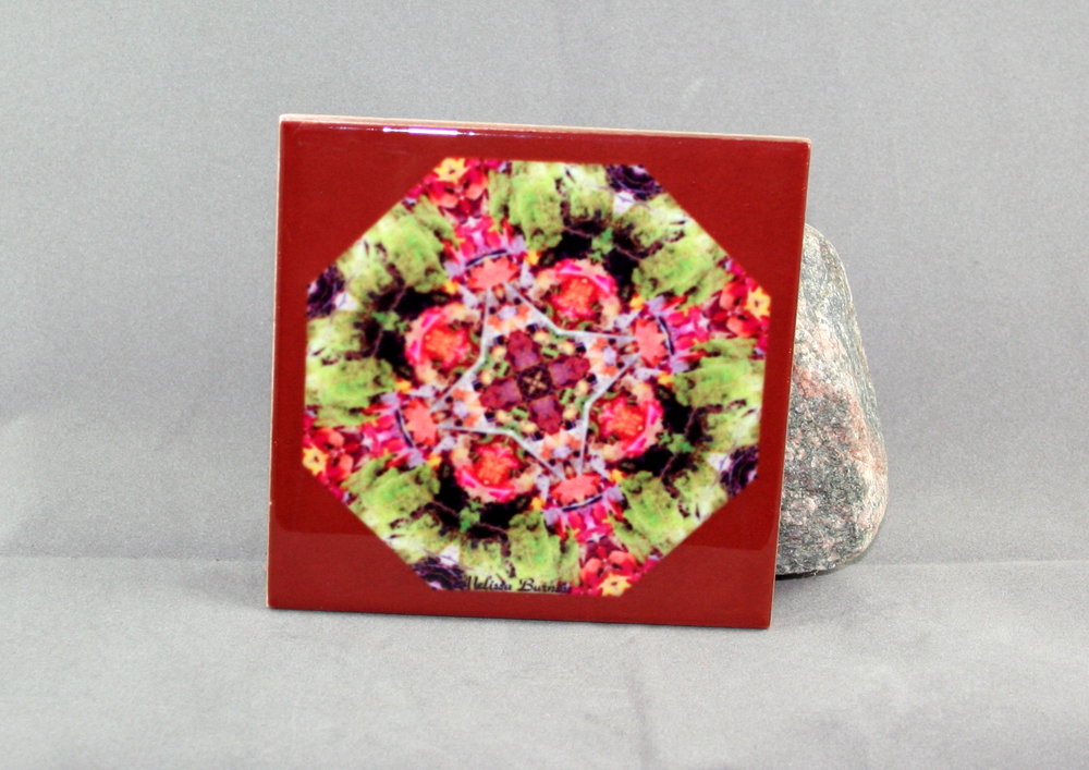 Autumn Leaves Decorative Ceramic Tile Coaster Geometric Kaleidoscope Fall Dream Catcher