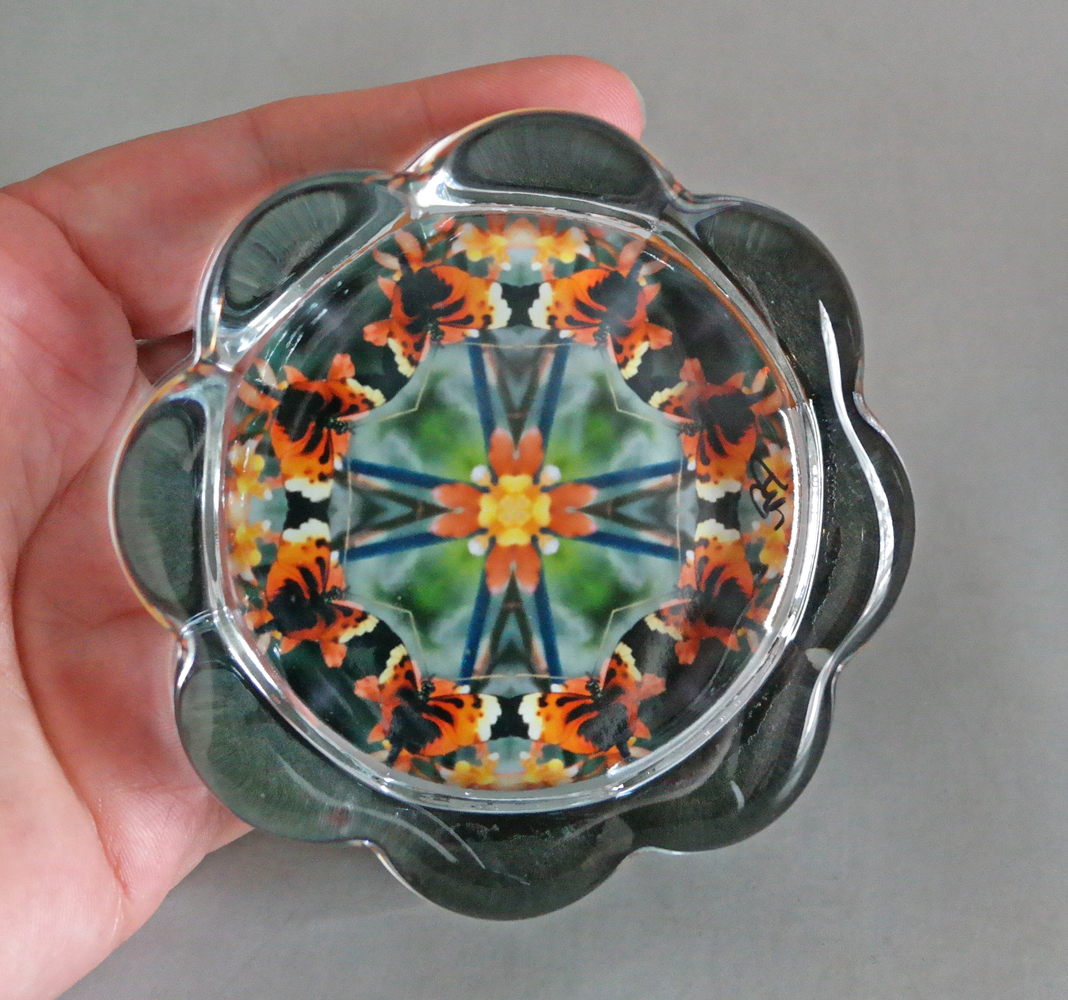 Butterfly Flower Glass Paperweight Kaleidoscope Mandala Sacred Geometry Unique Boss Gift Coworker Gift Teacher Gift Gaea's Rhapsody