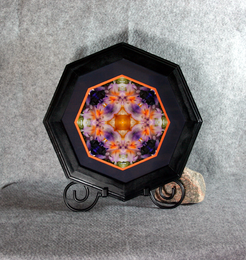 Lily Fine Art Sacred Geometry Photograph Kaleidoscope Framed Lavender Lust