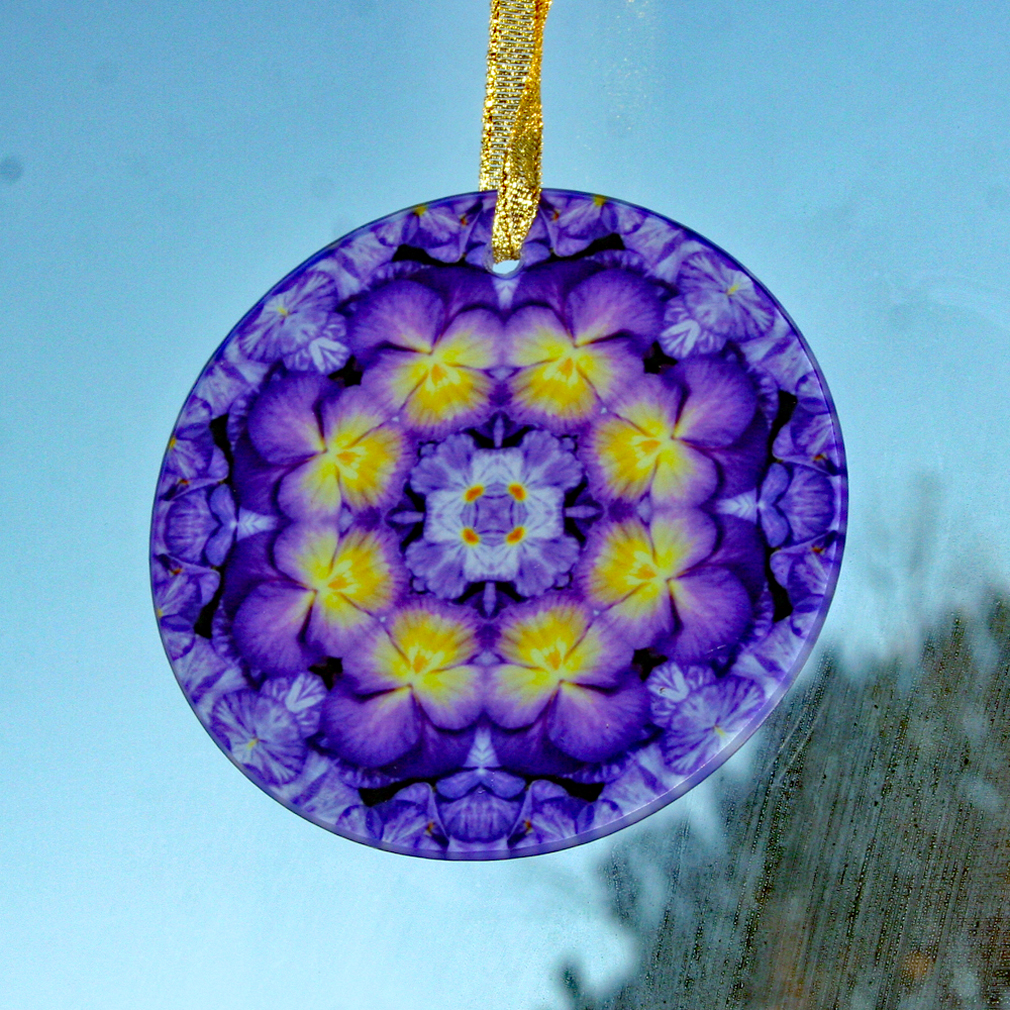 Pansy Suncatcher Boho Chic Mandala Sacred Geometry New Age Kaleidoscope Purple Prose