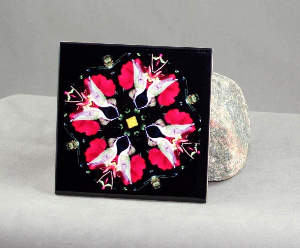 Hummingbird Decorative Ceramic Tile Coaster Trivet Sacred Geometry Mandala Tiny Dancer