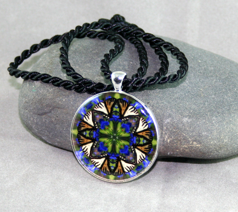 Swallowtail Butterfly Necklace geometric kaleidoscope mandala Auroras Aria