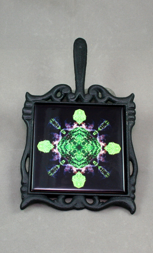 Bear Cast Iron Ceramic Tile Trivet Sacred Geometry Mandala Kaleidoscope Bear Essentials
