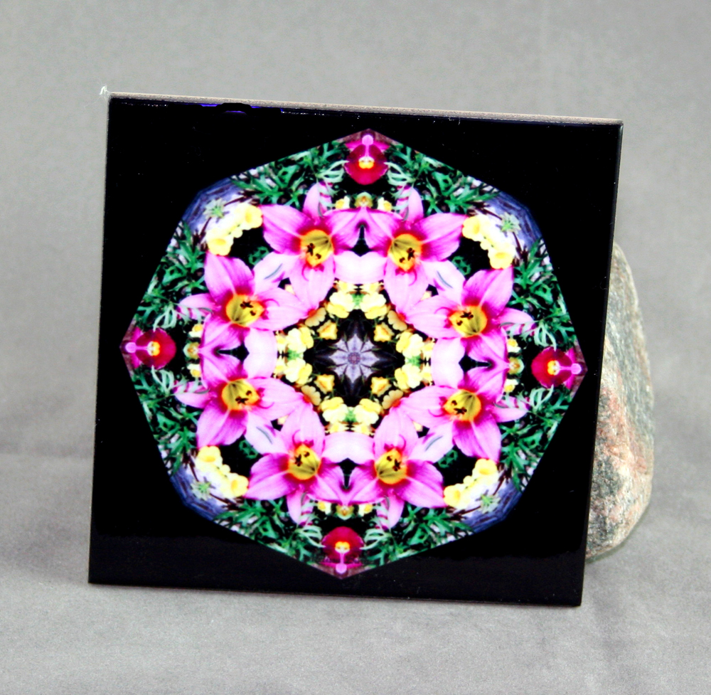Lily Decorative Ceramic Tile Coaster Trivet Geometric Kaleidoscope Bella