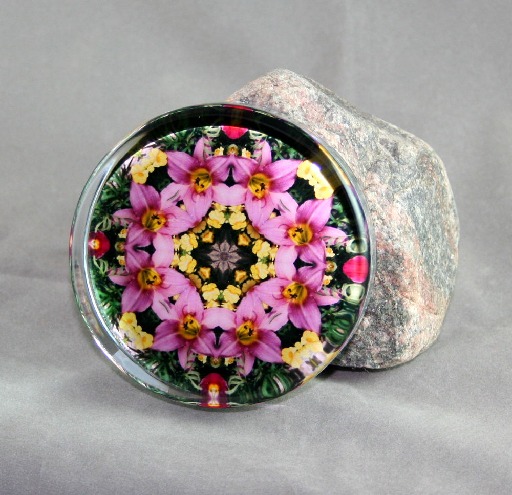Lily Glass Paperweight Sacred Geometry Mandala Kaleidoscope Bella